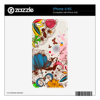 LineDrawing Flower  Zazzle Skin Skins For iPhone 4S