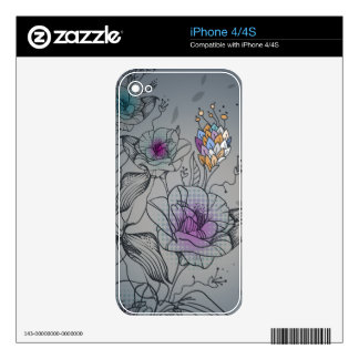 LineDrawing Flower  Zazzle Skin iPhone 4 Decals