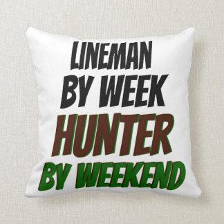 Lineman Hunter Throw Pillow