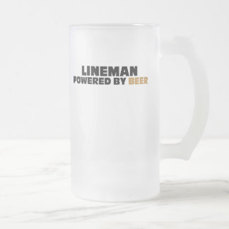 Lineman Powered By Beer 16 Oz Frosted Glass Beer Mug