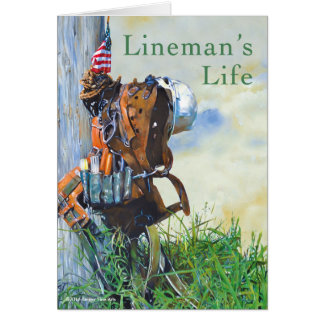 Lineman's Life Original Painting and Poem Card