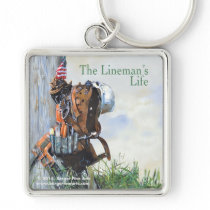 Lineman's Life Premium Key Fob Silver-Colored Square Keychain
