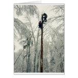 Linemen climbing pole restoring power greeting card