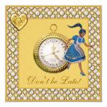 Linen Alice in Wonderland Whimsical Wedding Invite
