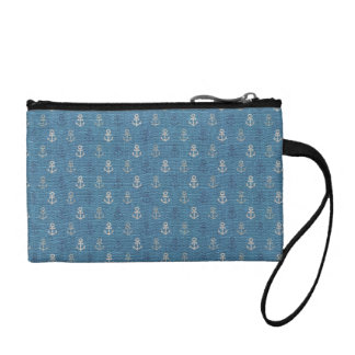 Linen Anchors on Blue Coin Purse