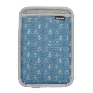 Linen Anchors on Blue iPad Mini Sleeve