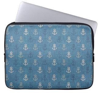 Linen Anchors on Blue Laptop Sleeve