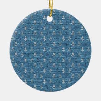 Linen Anchors on Blue Christmas Ornaments