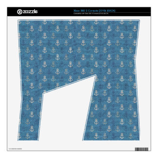 Linen Anchors on Blue Xbox 360 S Console Skins