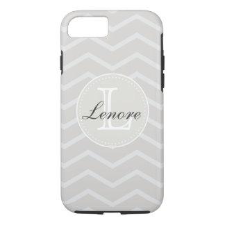 Linen and Beige Chevron Pattern Monogram Name iPhone 7 Case
