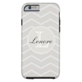 Linen and Beige Chevron Pattern Monogram Name Tough iPhone 6 Case
