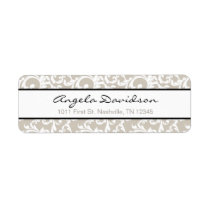 Linen and Black Elegant Damask Pattern Label