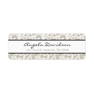 Linen and Black Elegant Damask Pattern Return Address Label