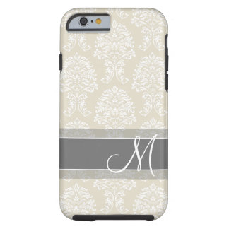 Linen and Charcoal Damask Pattern with Monogram Tough iPhone 6 Case