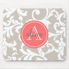 Linen And Coral Monogrammed Damask Print Mouse Pad at Zazzle