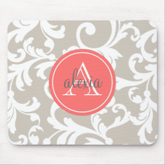 Linen and Coral Monogrammed Damask Print Mouse Pad
