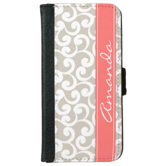 Linen and Coral Monogrammed Elements Print iPhone 6/6s Wallet Case