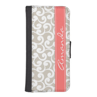 Linen and Coral Monogrammed Elements Print Wallet Phone Case For iPhone SE/5/5s