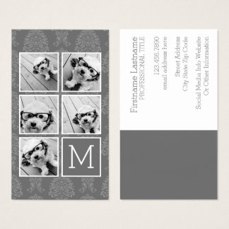 Linen and Gray Instagram 5 Photo Collage Monogram Business Card