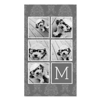 Linen and Gray Instagram 5 Photo Collage Monogram Double-Sided Standard Business Cards (Pack Of 100)