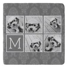 Linen and Gray Instagram 5 Photo Collage Monogram Trivet