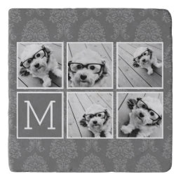 Linen and Gray Instagram 5 Photo Collage Monogram Trivet