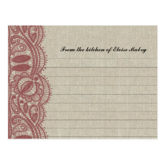 Linen and Marsala Lace Personalized Recipe Cards