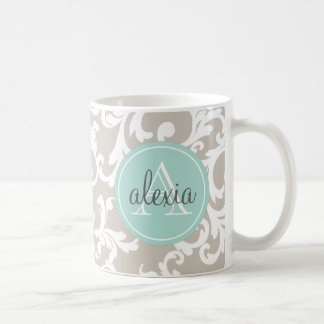 Linen and Mint Monogrammed Damask Print Coffee Mug