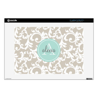 "Linen and Mint Monogrammed Damask Print Decal For 13"" Laptop"