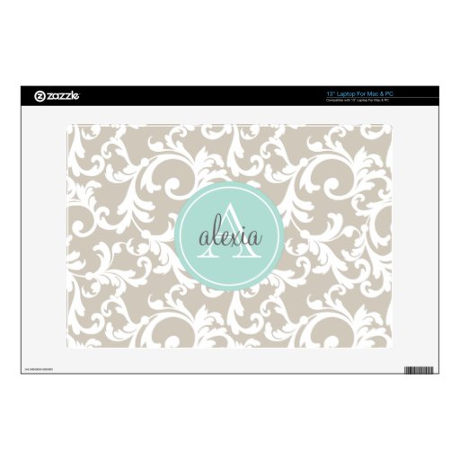 """Linen and Mint Monogrammed Damask Print Decal For 13"""" Laptop"""