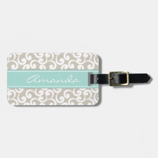 Linen and Mint Monogrammed Elements Print Bag Tags