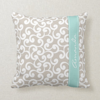 Linen and Mint Monogrammed Elements Print Throw Pillow
