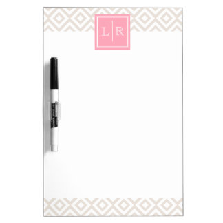 Linen and Pink Diamonds Pattern and Monogram Dry-Erase Board