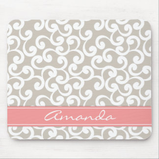 Linen and Pink Monogrammed Elements Print Mouse Pad
