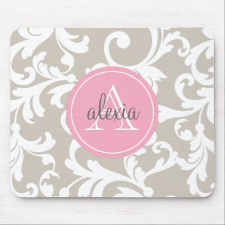 Linen and Soft Pink Monogrammed Damask Print Mouse Pad