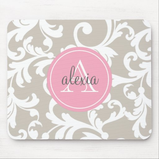 Linen and Soft Pink Monogrammed Damask Print Mousepads