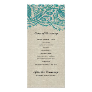 Linen and Teal Lace Wedding Program