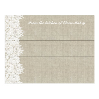 Linen and White Lace Personalized Recipe Cards Postcard