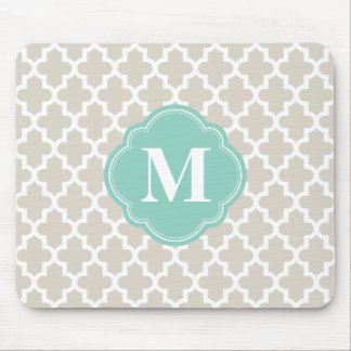Linen Beige and Aqua Moroccan Custom Monogram Mouse Pad