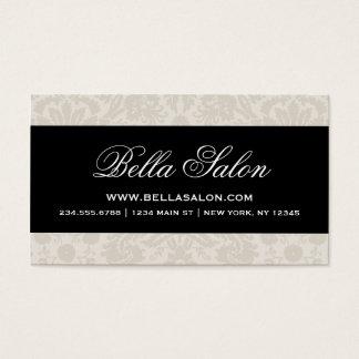 Linen Beige and Black Elegant Vintage Damask Business Card