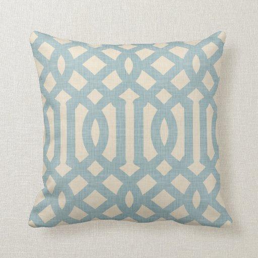 Linen Beige and Blue Modern Trellis Throw Pillows Zazzle