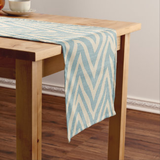 Linen Beige and Blue Zebra Print Short Table Runner