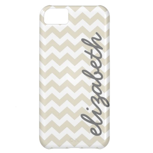 Linen Beige and Charcoal Chevrons and Name Cover For iPhone 5C