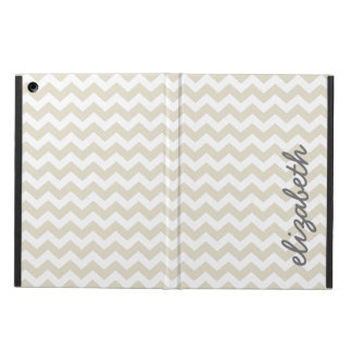 Linen Beige and Charcoal Chevrons and Name iPad Air Covers