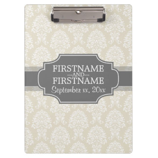 Linen Beige and Charcoal Damask Pattern Clipboard