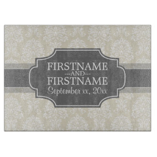 Linen Beige and Charcoal Damask Pattern Cutting Board