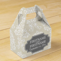 Linen Beige and Charcoal Damask Pattern Favor Box