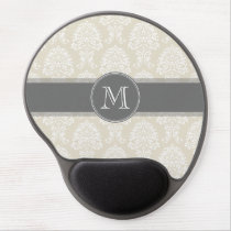 Linen Beige and Charcoal Damask Pattern Gel Mouse Pad