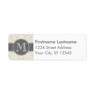 Linen Beige and Charcoal Damask Pattern Label