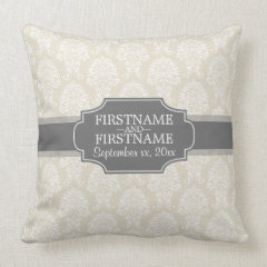 Linen Beige and Charcoal Damask Pattern Pillows